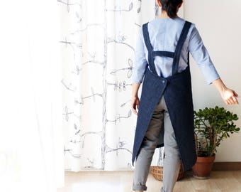 Sturdy denim apron. Indigo dyed denim. Hard duty pinafore. Sizes S to XXL. Made to order.
