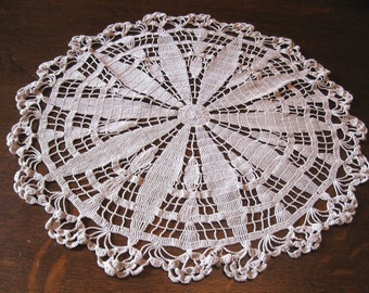 Antique Vintage Large Ecru Cotton Hand Crochet Table Centerpiece