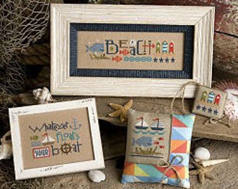 NEW Red White & Beach cross stitch pattern by Lizzie Kate at thecottageneedle.com smalls