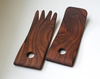 Mid Century Rosewood / Dark Teak Salad Servers Utensils Salad Hands 1970's