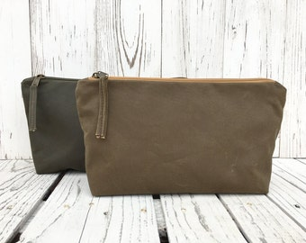Minimalist Waxed Canvas Pouch, Zipper Toiletry Bag, Vegan Make Up Case, Cosmetic Storage, Solid Coin Purse, Water Repellent Travel Bag