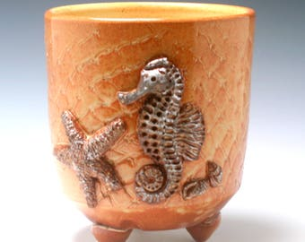Extra Large Handmade Ceramic Utensil Holder OR Planter in Orange and Burnt Umber with Seahorse, shells and Texture/Ceramics and Pottery