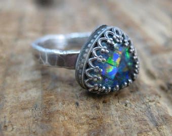 Opal Grace // Sterling Silver Opal Ring // Hand Crafted // Artisan // Eco Friendly // Size 6 // Ready to Ship