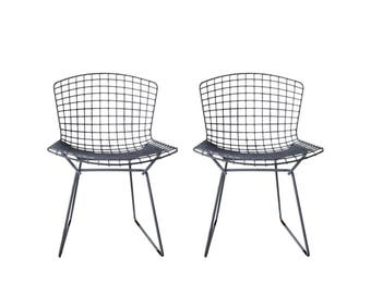 Pair of Grey Knoll Bertoia Wire Chairs