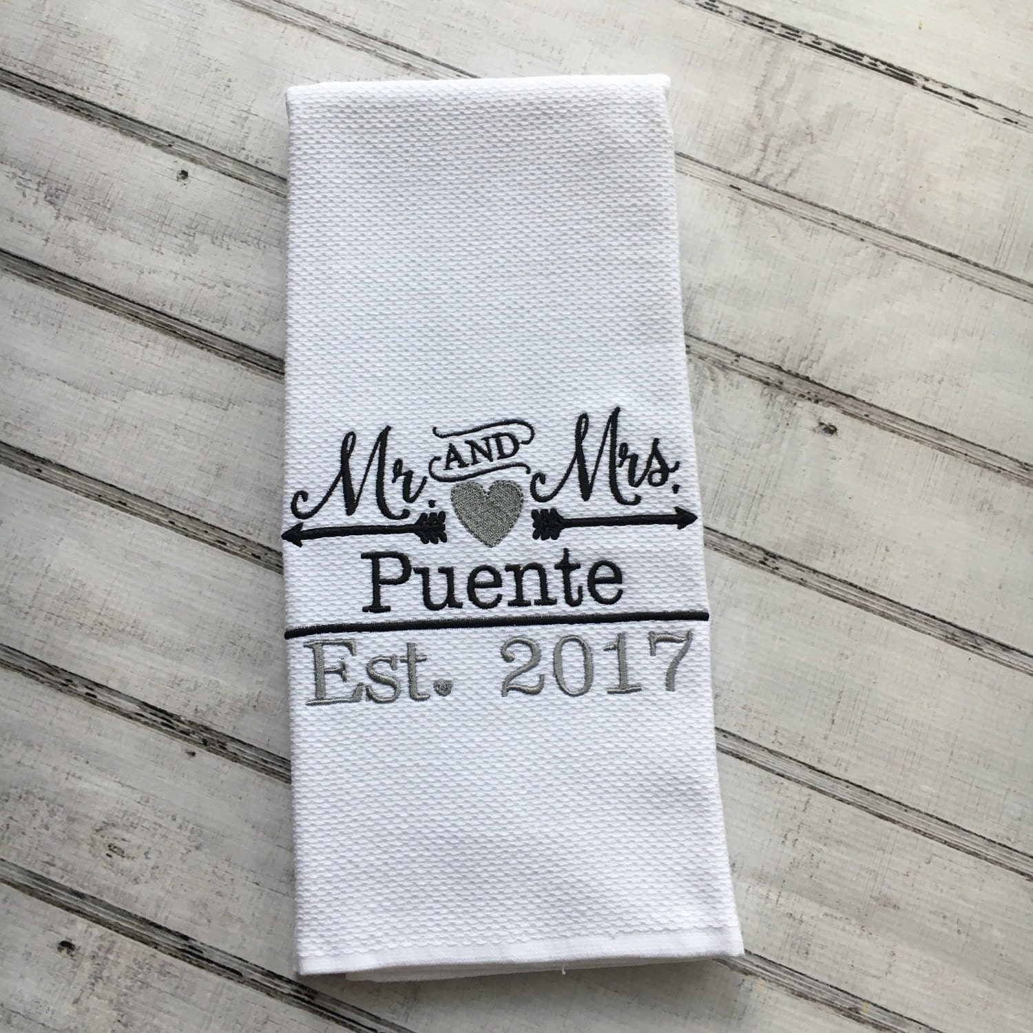 Wedding Gift Kitchenware : Personalized Kitchen Towel Wedding Gift Dish Towel Kitchen