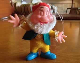 Vintage Flocked Disney Character Bashful Ornament