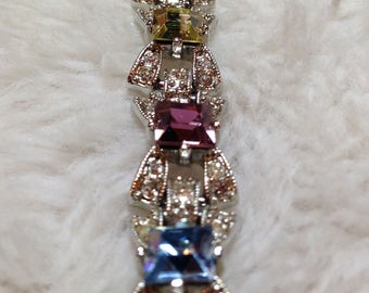 Vintage GRAZIANO Prong Set and Inlaid Crystal Bracelet