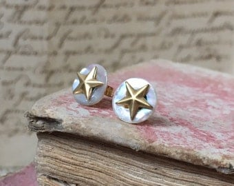 RESERVED LORI antique Mother of Pearl button gold stud earrings, gold plated star vintage jewellery stamping. French style christmas gift