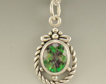 P678- Sterling Silver Mystic Topaz Pendant- One of a Kind