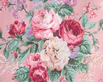 Pink English Cabbage Rose Floral Pattern Chic Garden Cottage Designer Decorative Throw Pillow