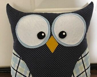 Owl Pillow Navy and Light Blue