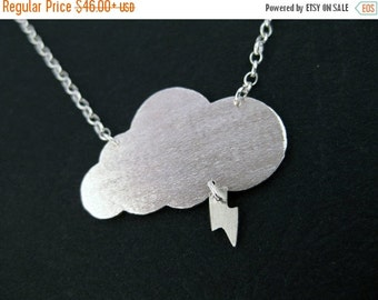 Cloud Pendant - Sterling Silver Cloud with Lightning Bolt Necklace - Quirky Jewelry Gifts for Her