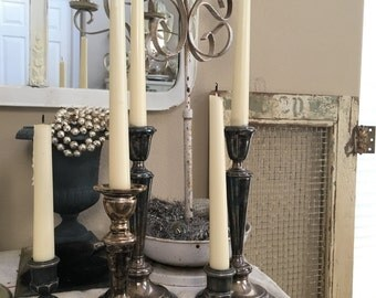 Vintage Collection Of 5 Silver Plated Candlesticks