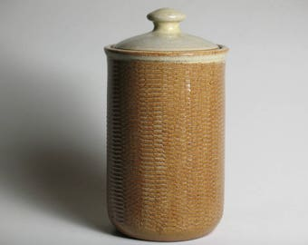 Stoneware lidded jar with texture