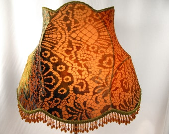 Lamp Shade Oval Floor Table Hand Made Ombre Floral Cut Velvet Blues Green Antique Gold Colors
