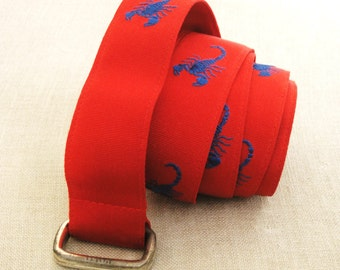 Cloth Belt, Web Belt, Grosgrain Ribbon Belt, Preppy, Ralph Lauren, Red, Scorpions, Scorpio, Casual Belt, Unisex, Designer,Fashion,Accessory