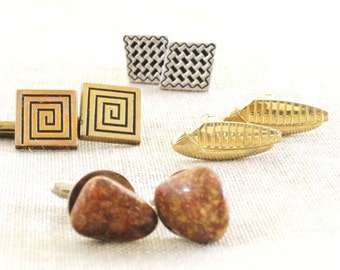 Vintage Cufflinks, Assorted, Collection, Lot, Swank, Stone, Men's Gift, Men's Accessories, Cuff Clip, Modern, Mens Jewelry, Men's Jewelry
