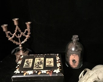 Antique Box with Mini Deck of Royo Dark Tarot Cards at Gothic Rose Antiques