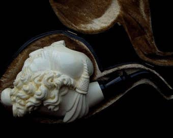 Bearded Smoking Old Fez Man Known as Dunhill Pipe Block Meerschaum Pipe Big 4655