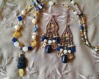 Lapis citrine necklace earring set, Lapis, citrine, opal, silver, pearl pendant necklace chandelier earring set
