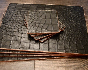 Luxury Mock Croc Black Leather Mulberry Placemats & Coasters Copper Edged