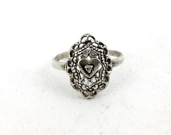 Antique Victorian 925 Sterling Silver Filigree Heart Promise Diamond Ring