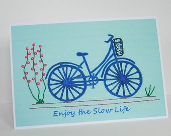 Vintage Bicycle Greetings Card, Enjoy the Slow Life, Blank Card, Recycled Card, Art Card