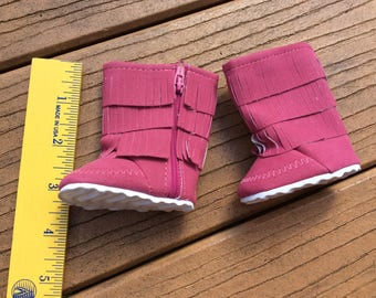 Pink fringed boots, doll shoes, fit American Girl, doll clothes