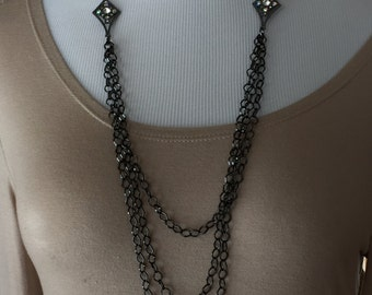 Gunmetal long beaded necklace one of a kind