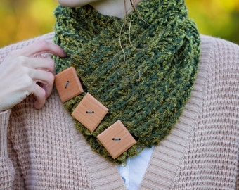 READY TO SHIP Moss Green Wrap Around Button Cowl