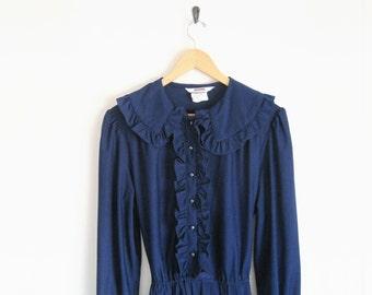 1970s Navy Blue Dress. Vintage Montgomery Ward Dress. Navy Blue Ruffle Dress With Ruffle Collar & Back Tie. Long Sleevess Dress. Sweet Twee.