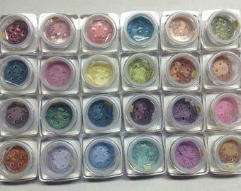 Eye Shadow SET 24pc SPRING SUMMER Organic Beauty Eye Shadow pigments Vegan Hand crafted Shadow Set