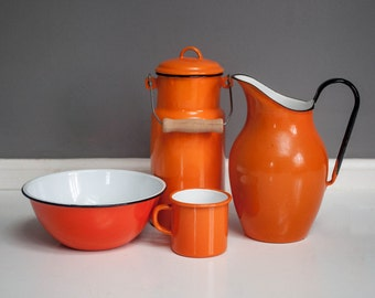 Vintage Orange Enamel Kitchenware Collection