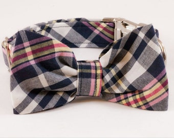 Pink and Navy Madras Bow Tie Dog Collar