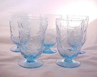 1960s Morgantown Crinkle Blue Water Goblets (5), Vintage Collectible Mid Century Casual Glassware, Can Confuse With Seneca Driftwood Pattern