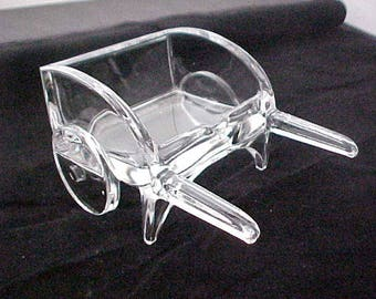 1940s Cigarette Cart # 508 by New Martinsville / Viking, Clear Glass Figural Smoking Item, Business Card Holder or Calling Card Receiver