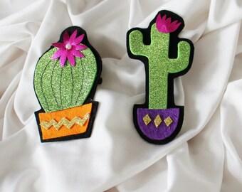 Cactus Hair Clip - Glitter Hair Clip - Ready to ship