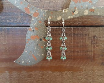 Byzantine Chainmaille Earrings with Seafoam Beads