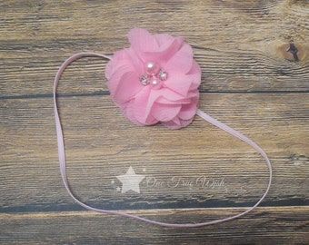Infant headband, pink, light pink, baby headband, newborn headband, baby girl headband, infant hair clip, infant girl, newborn girl headband