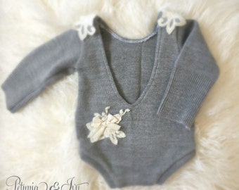 Newborn Grey Applique Romper  Baby Girl, Clothing, Lace, Grey, Bow Romper, Jumper, Photo Prop, Newborn Clothing,