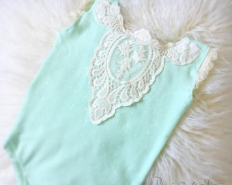 6-12 Month Mint Applique Romper, Baby Girl, Mint, Jumper, Lace, Vintage, Sitter, Photography Prop, Jersey Knit, Ready to Ship