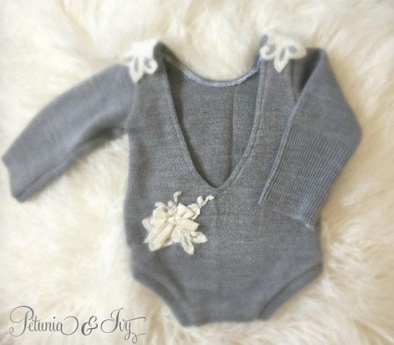 Newborn Grey Applique Romper Baby Girl Clothing Lace Grey 60%OFF ... 81f372340d