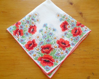 Handkerchief Hanky Hankie Vintage Hankys Hankies Antique Handkerchief Hankerchief Floral Orange Poppy