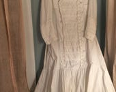 Antique Victorian Wedding Dress TDF! It would be beautiful for vintage wedding or display! Will fit up to an XL a rari