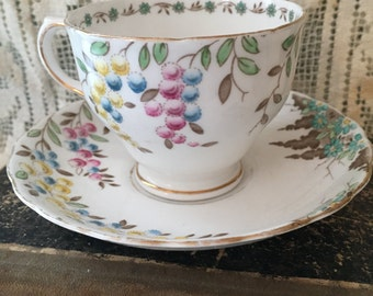Antique vintage english bone china teacup saucer floral tuscan