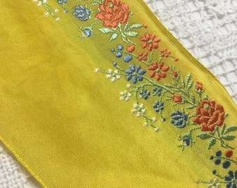 VINTAGE SILK EMBROIDERED Ribbon .