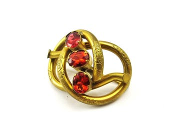 Antique Gold Brooch Victorian Love Knot Amber Citrine Pin Scottish Jewelry Scotland 1890s Antique Jewelry