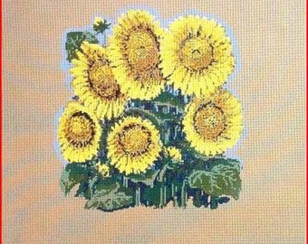 Large Sunflower Needlepoint Canvas Fire Screen/Pillow/Picture