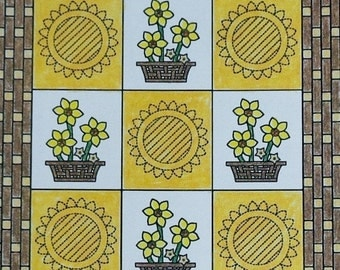 50%OFF Spinning Spools Quilters Club DAFFODIL BASKET Georgia Bonesteel Oxmoor House - Quilt Pattern with Plastic Template