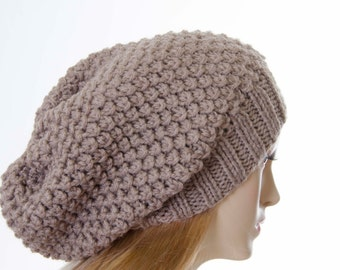Slouchy beanie  oversized beanie hat winter knit hat for woman in beige   -COLOR OPTION  AVAILABLE